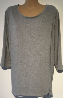BLOOMING MARVELLOUS GREY WRAP OVER TSHIRT NURSING TOP SIZE L 14-16